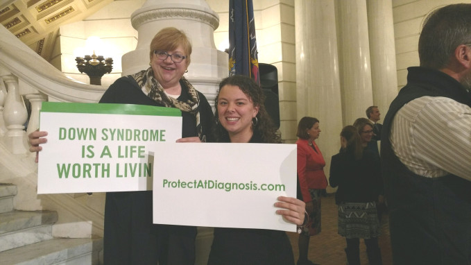Michele Inter, left, director of Disabilities Ministries for the Diocese of Erie, and Patrice Swick, director of the Office of Social Justice and Life, attended the March 12 Harrisburg rally.