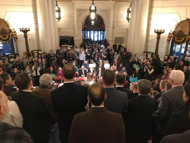This was the scene at the state capitol in Harrisburg on March 12.